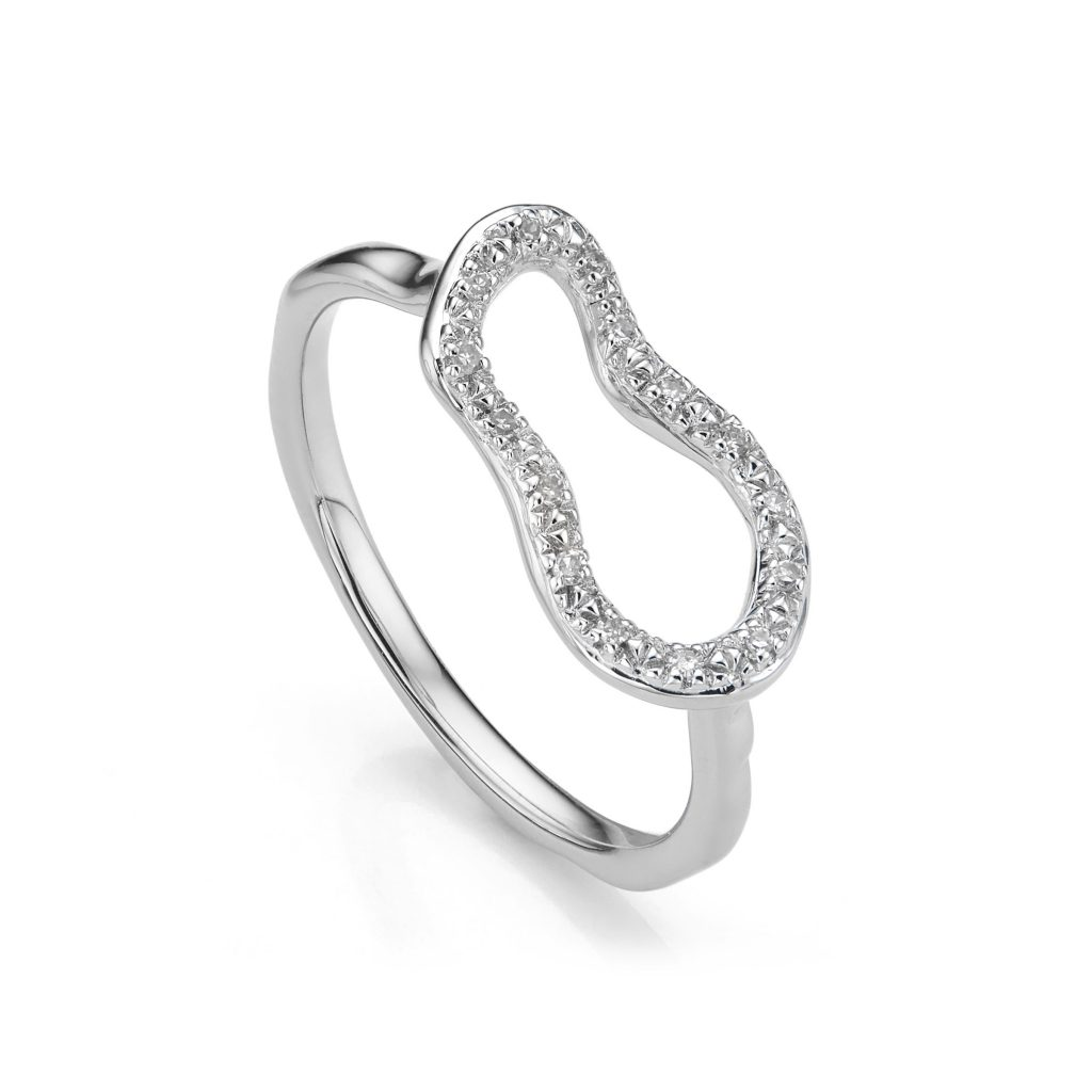 Riva Mini Pod Ring Sterling Silver with Diamonds Monica Vinader