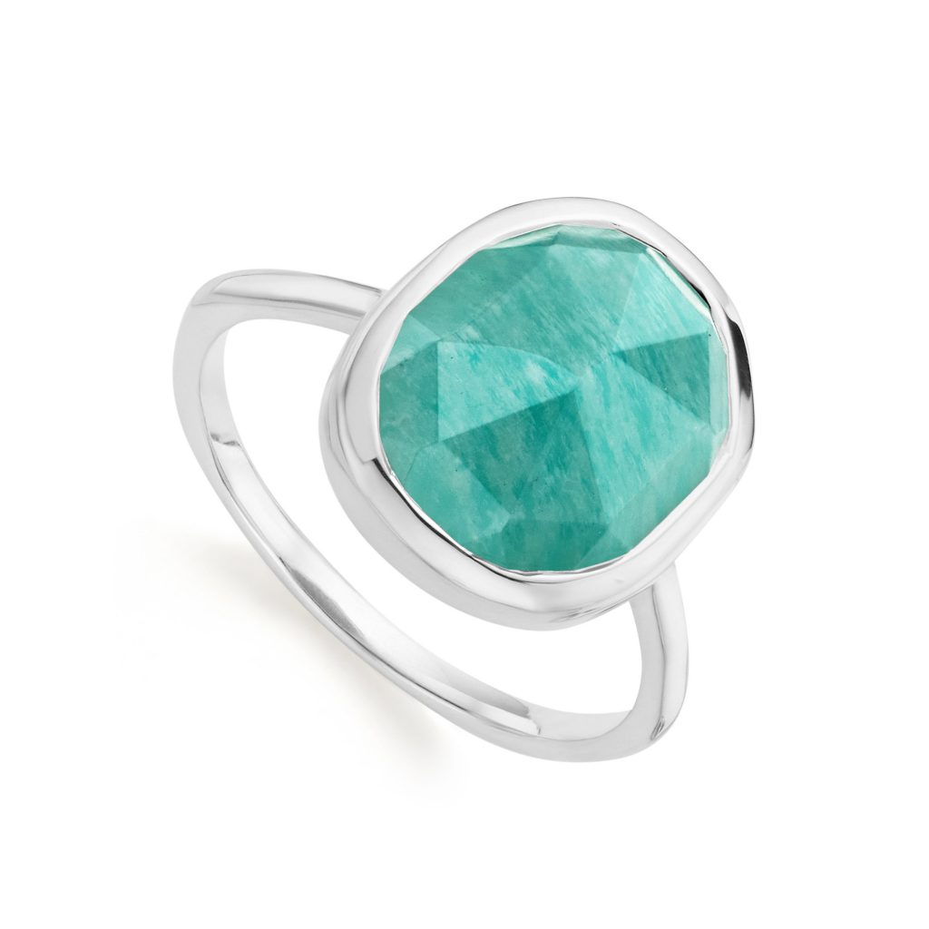 Siren Medium Stacking Ring Sterling Silver Amazonite Monica Vinader
