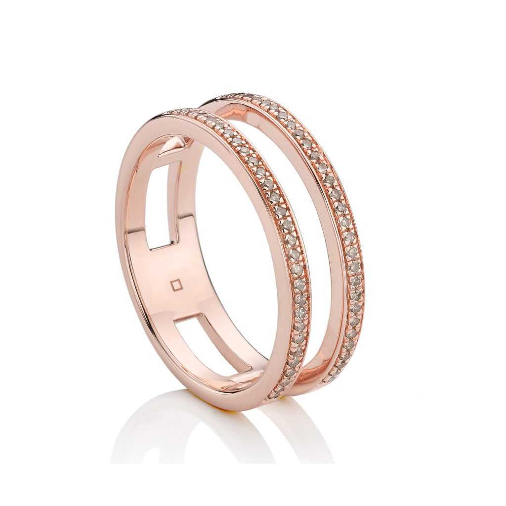 Skinny Double Band Ring in 18ct Rose Gold Vermeil on Sterling Silver Monica Vinader