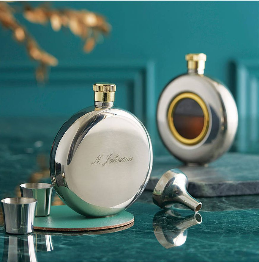 Engraved Round Hip Flask Limited Edition David-Louis Design Notonthehighstreet