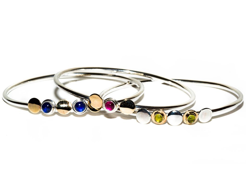 Anthony and Cleopatra Bangles HNA Jewellery silver gold semi precious gemstones