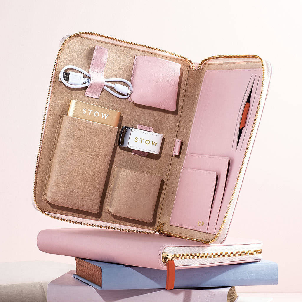 Personalised Luxury Leather Travel Tech Case For Her Stow London Not On The High Street