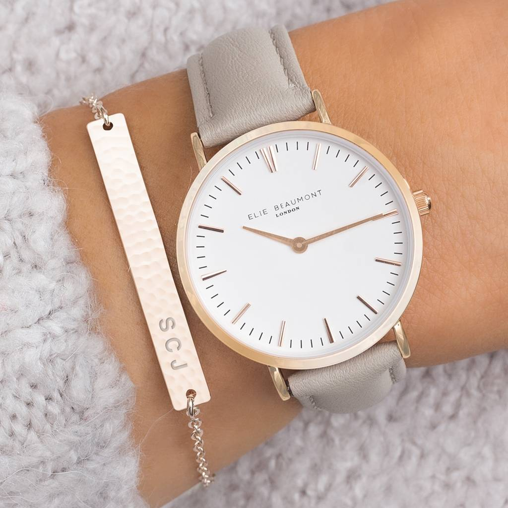 Personalised Cassia Watch and Hammered Bar Set Bloom Boutique Not On The High Street