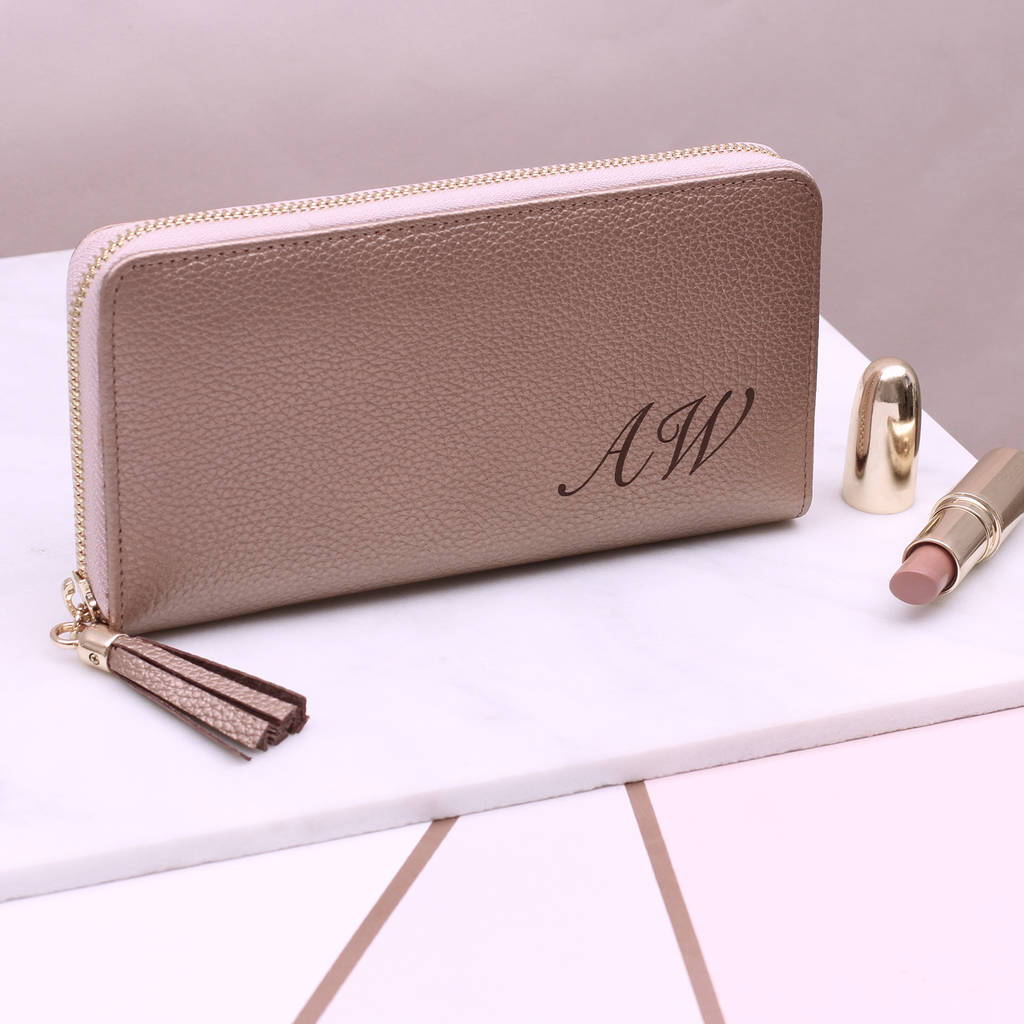 Personalised Luxury Italian Leather Zipped Wallet Purse HurleyBurley Not On The High Street