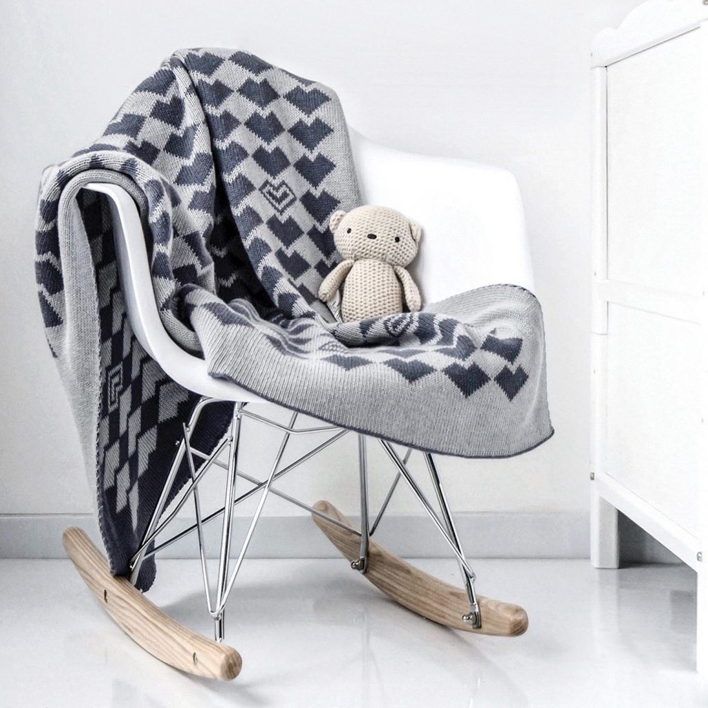 Large Knitted Cotton Baby Blanket Tinyppl Monochrome Range