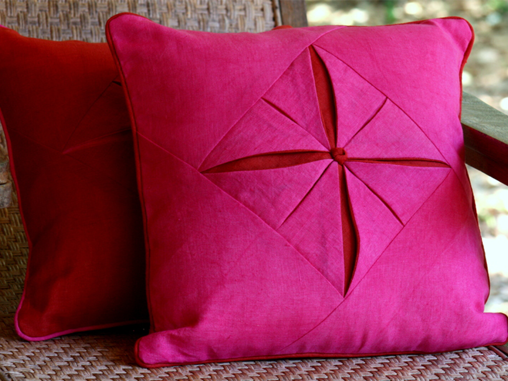 The Faded Raj Collection Pink and Red Linen Scatter Cushions Emerald Dove London