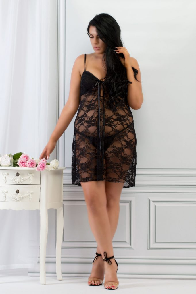 Plus Size Black Lace Babydoll Set Plus Size Lingerie Perfect4U