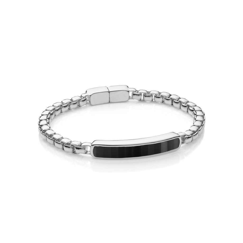 Baja Mens Large Bracelet in Sterling Silver with Black Onyx Monica Vinader