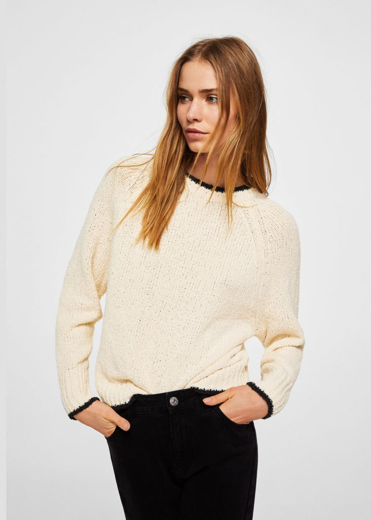 Contrast Trim Sweater Mango