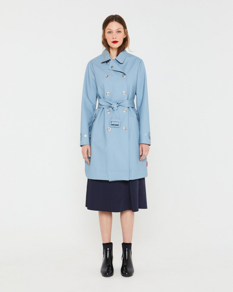 Hunter Womens Blue Refined Perforated Trench Coat