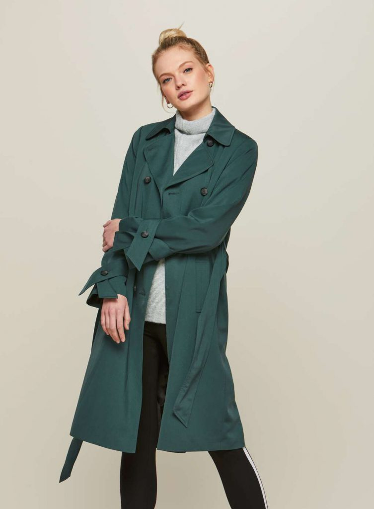 Miss Selfridge Green Double-Breasted Trench Coat
