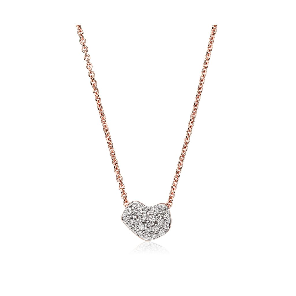 Monica Vinader Nura Mini Heart Necklace 18ct Rose Gold Vermeil Sterling Silver