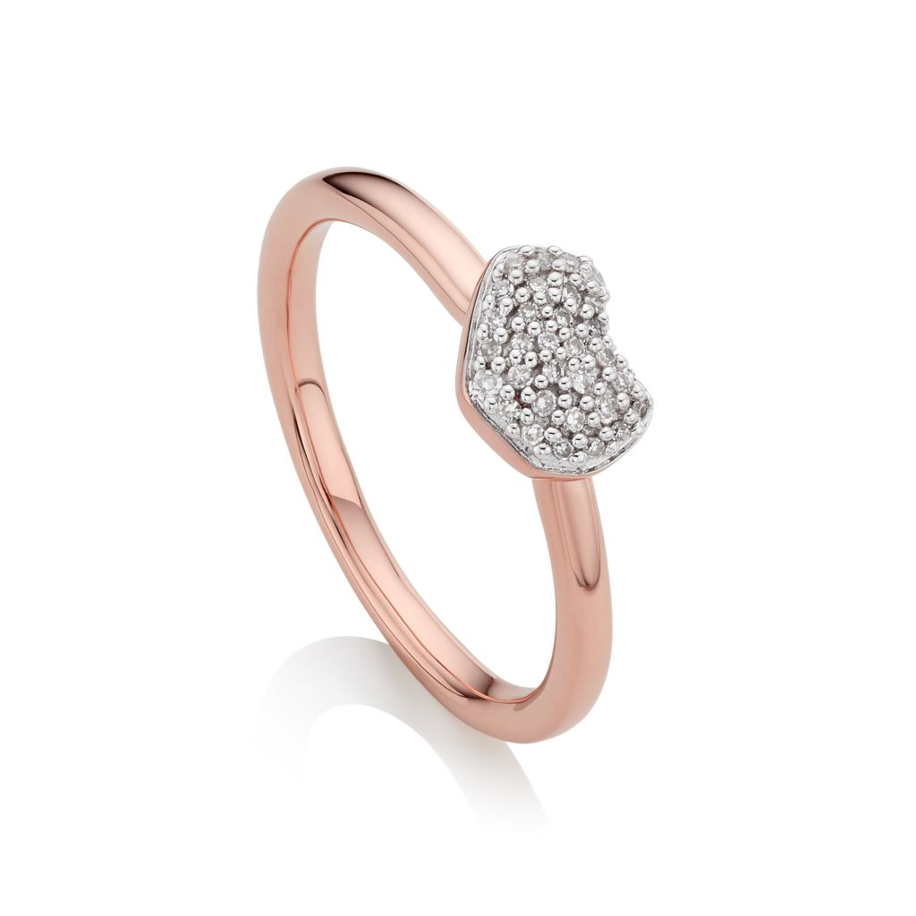 Monica Vinader Nura Mini Heart Ring 18ct Rose Gold Vermeil on Sterling Silver