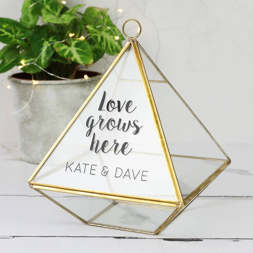 Personalised Hanging Brass Pyramid Terrarium Lisa Angel Notonthehighstreet