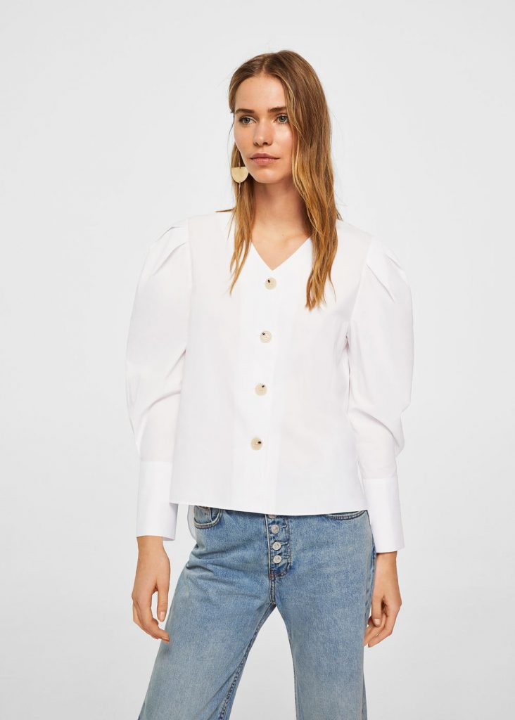 Puffed Sleeves Poplin Shirt Mango