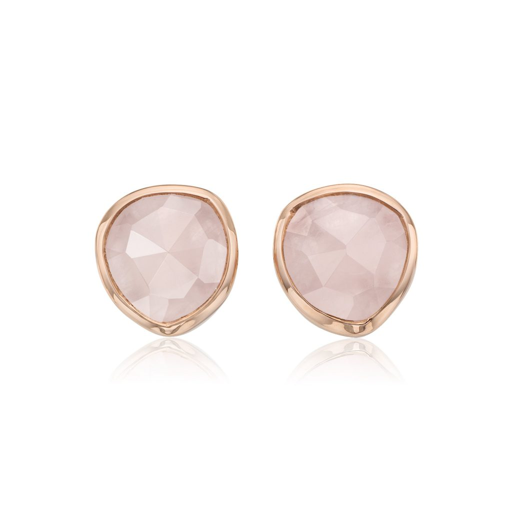 Siren Stud Earrings 18ct Rose Gold Vermeil Rose Quartz Monica Vinader