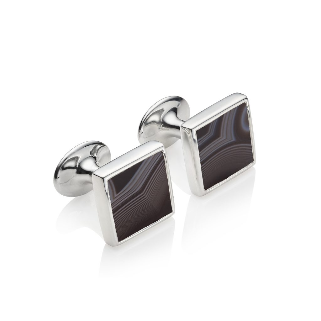 Stone Square Cufflinks in Sterling Silver with Black Line Onyx Monica Vinader