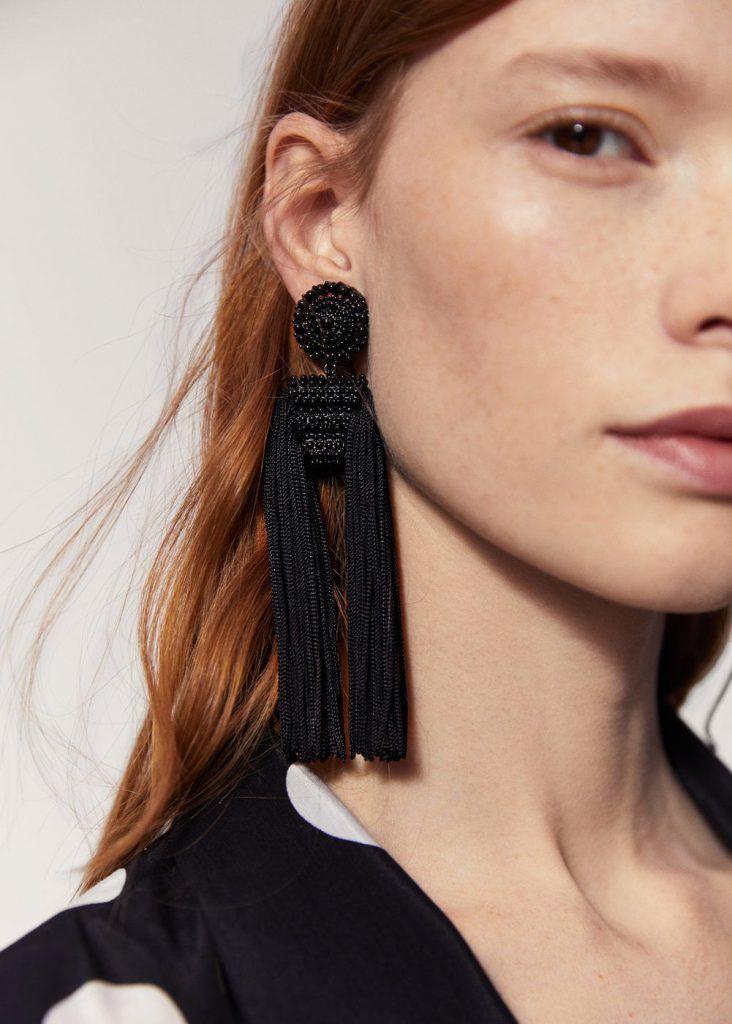 Mango Black Fringe Beads Tassel Earrings