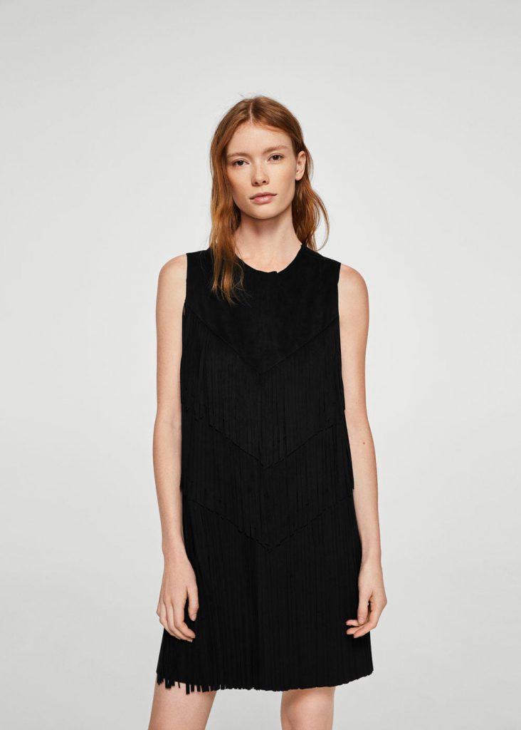 Mango Fringe Dress Black