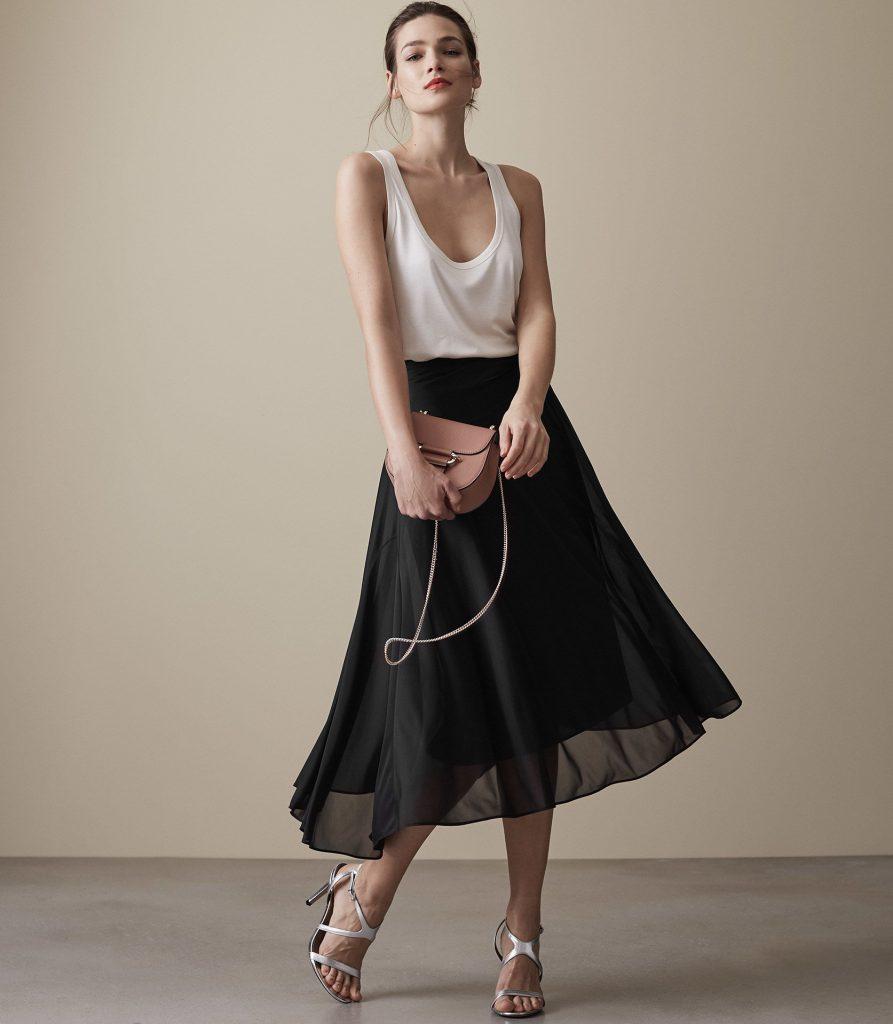Mora Midi Skirt Black Reiss