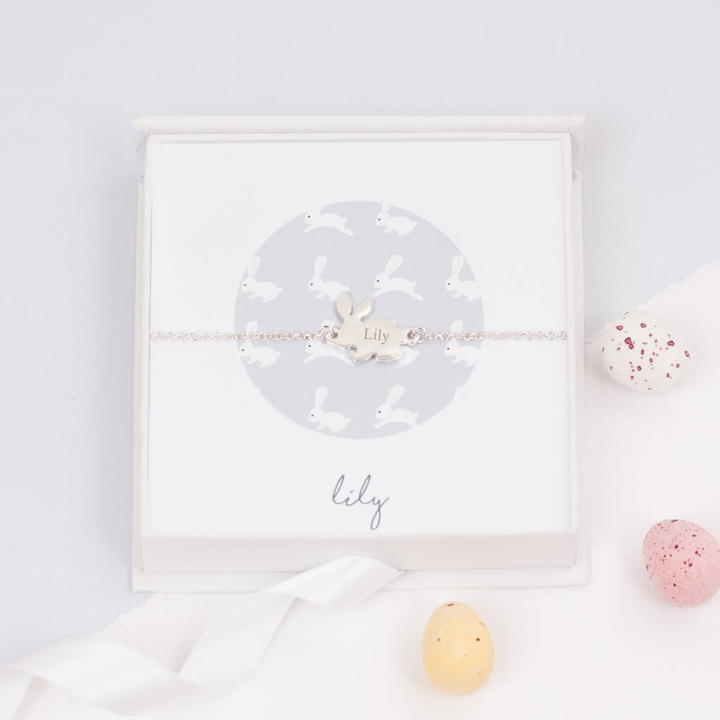 Personalised Sterling Silver Bunny Bracelet Gift Set by BLOOM BOUTIQUE