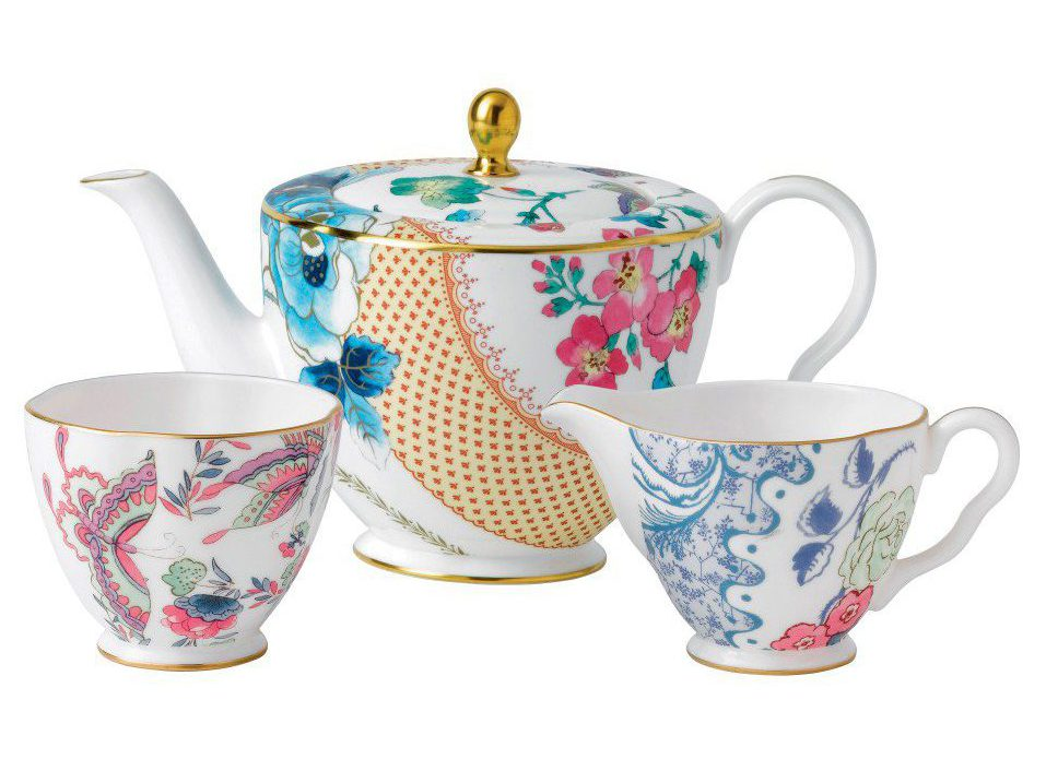 Wedgwood Butterfly Bloom 3 Piece Set Teapot Sugar And Cream