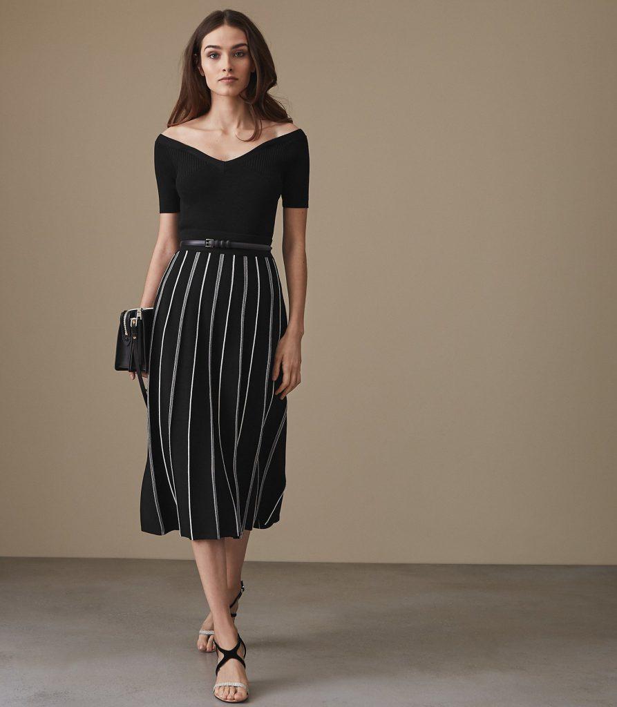 Willow Knitted Midi Skirt Black Reiss