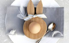 Wooden Oak Bunny Ears Egg Cup Hop and Peck Notonthehighstreet