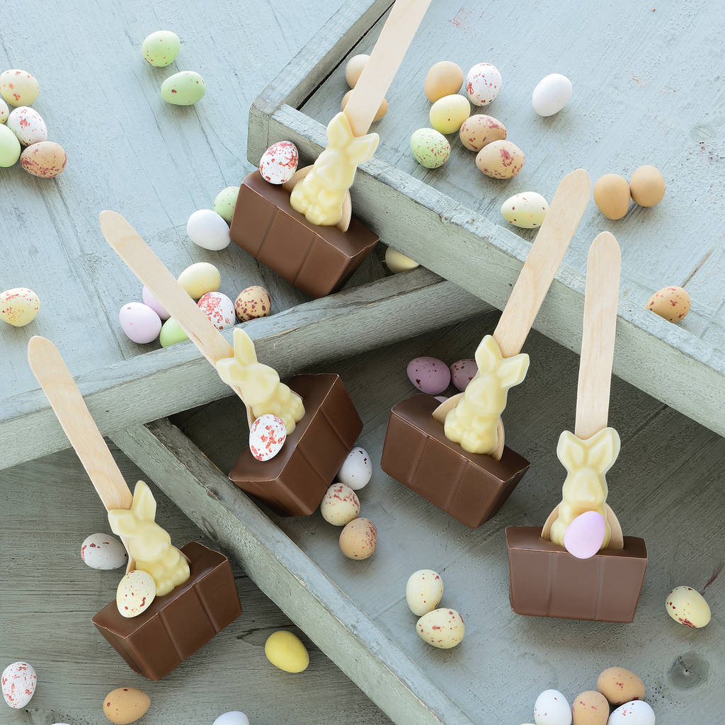 Easter Bunny Hot Chocolate Spoon Gift Set by Cocoba