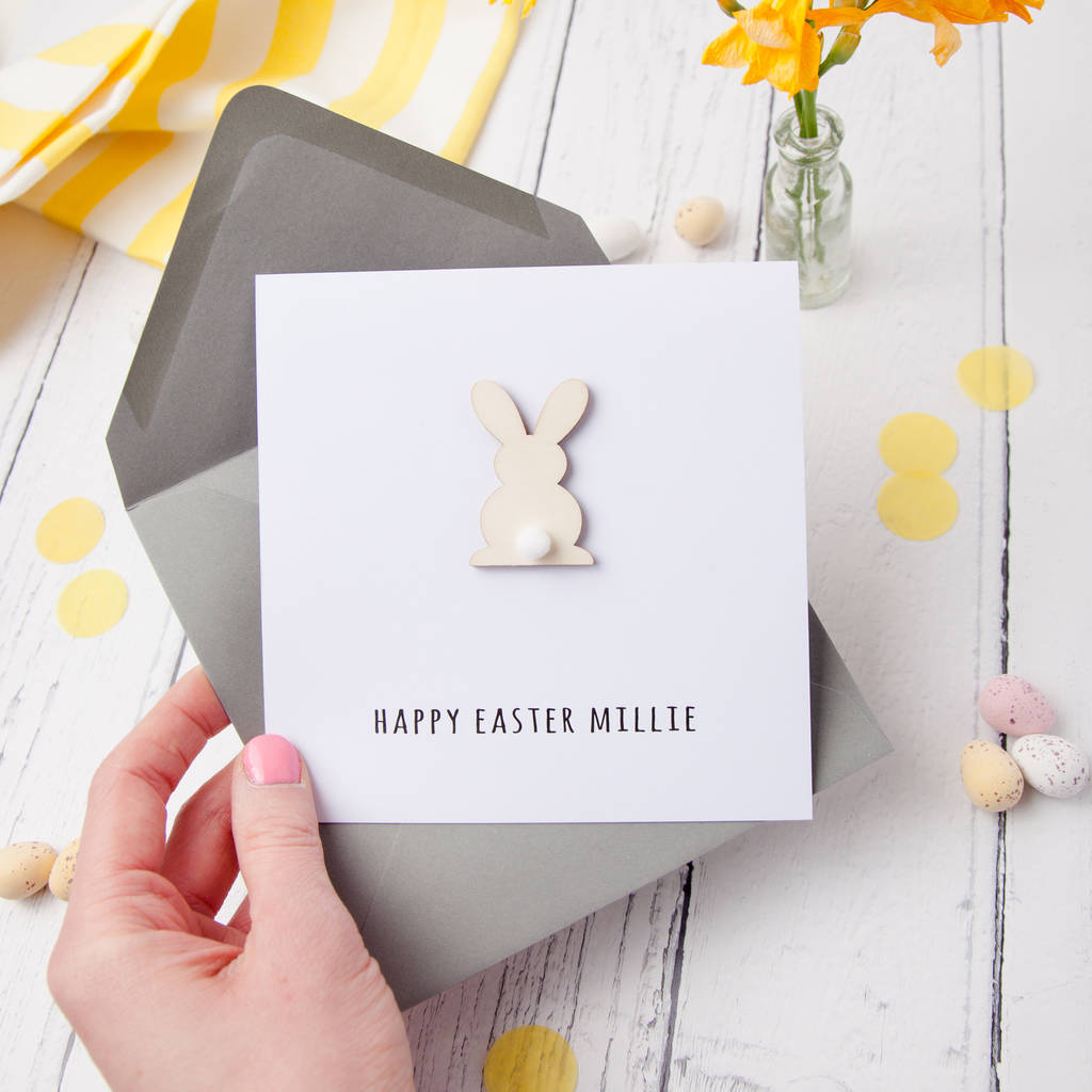 Easter Wooden Bunny With Pom Pom Tail Personalised Card Jodie Gaul Notonthehightstreet