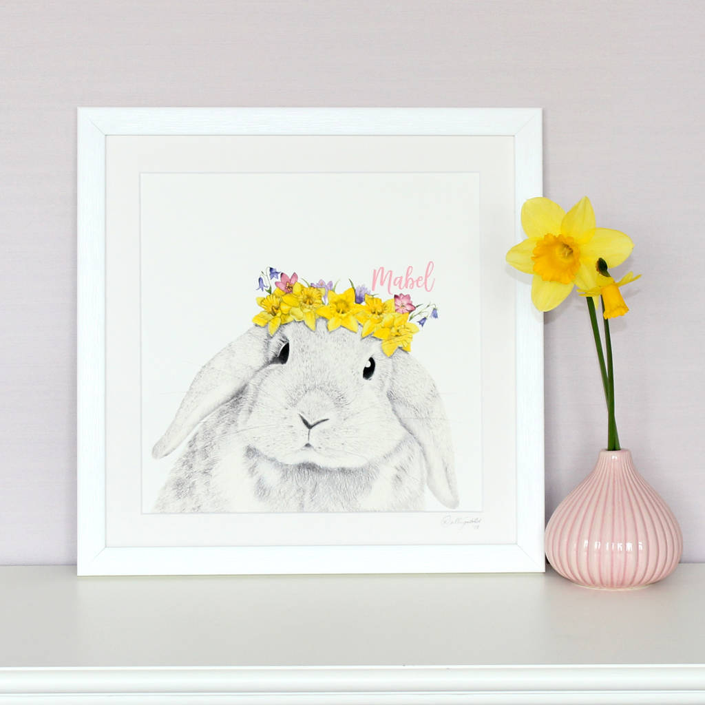 Framed Spring Baby Bunny Print by PAINT MY DREAM