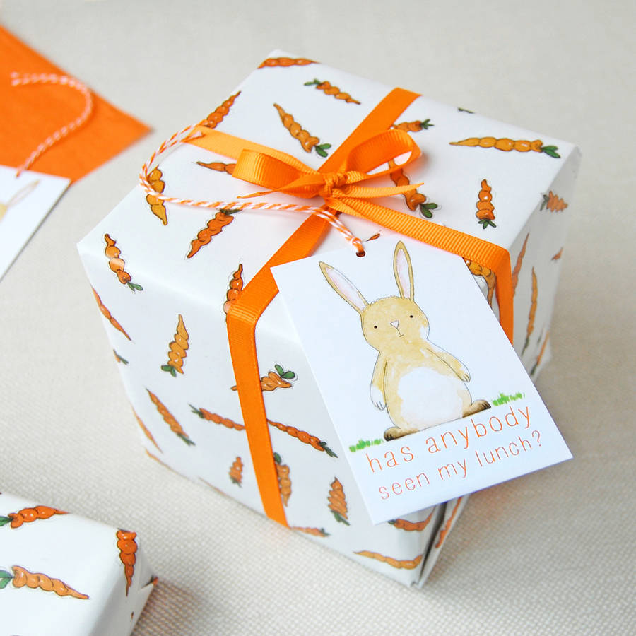 Carrots And Rabbits Wrapping Paper Set Clara and Macy Notonthehighstreet