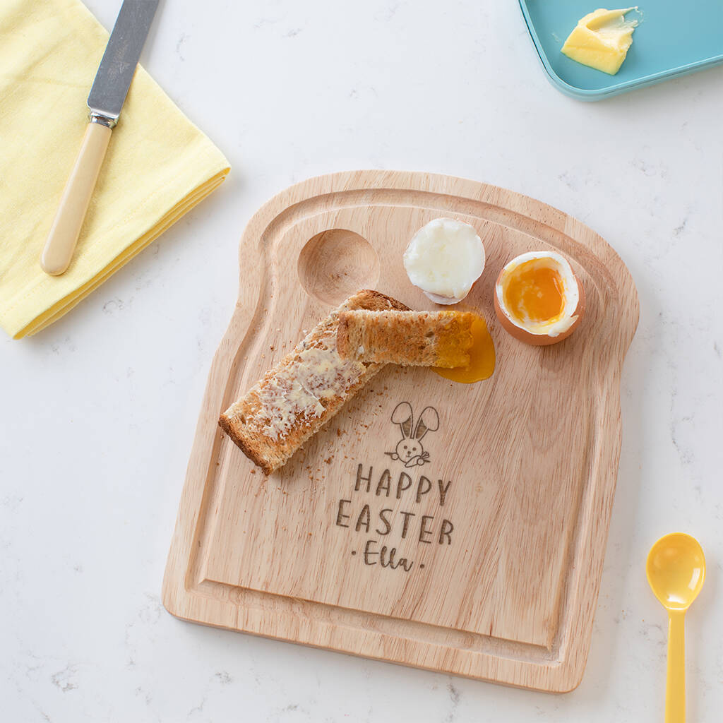 Personalised Easter Egg and Soldiers Wooden Board For Children