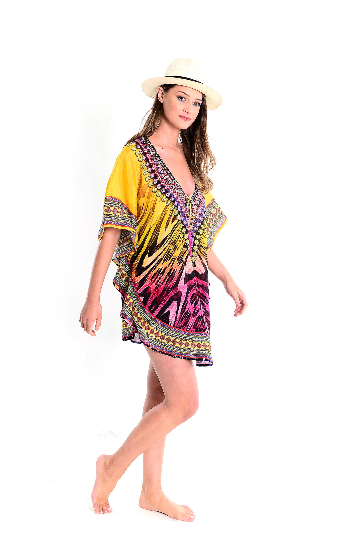 Bianca Multicolour Deep V Lace Up Kaftan