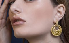 Lara Heems Folie Earrings CZ Gold