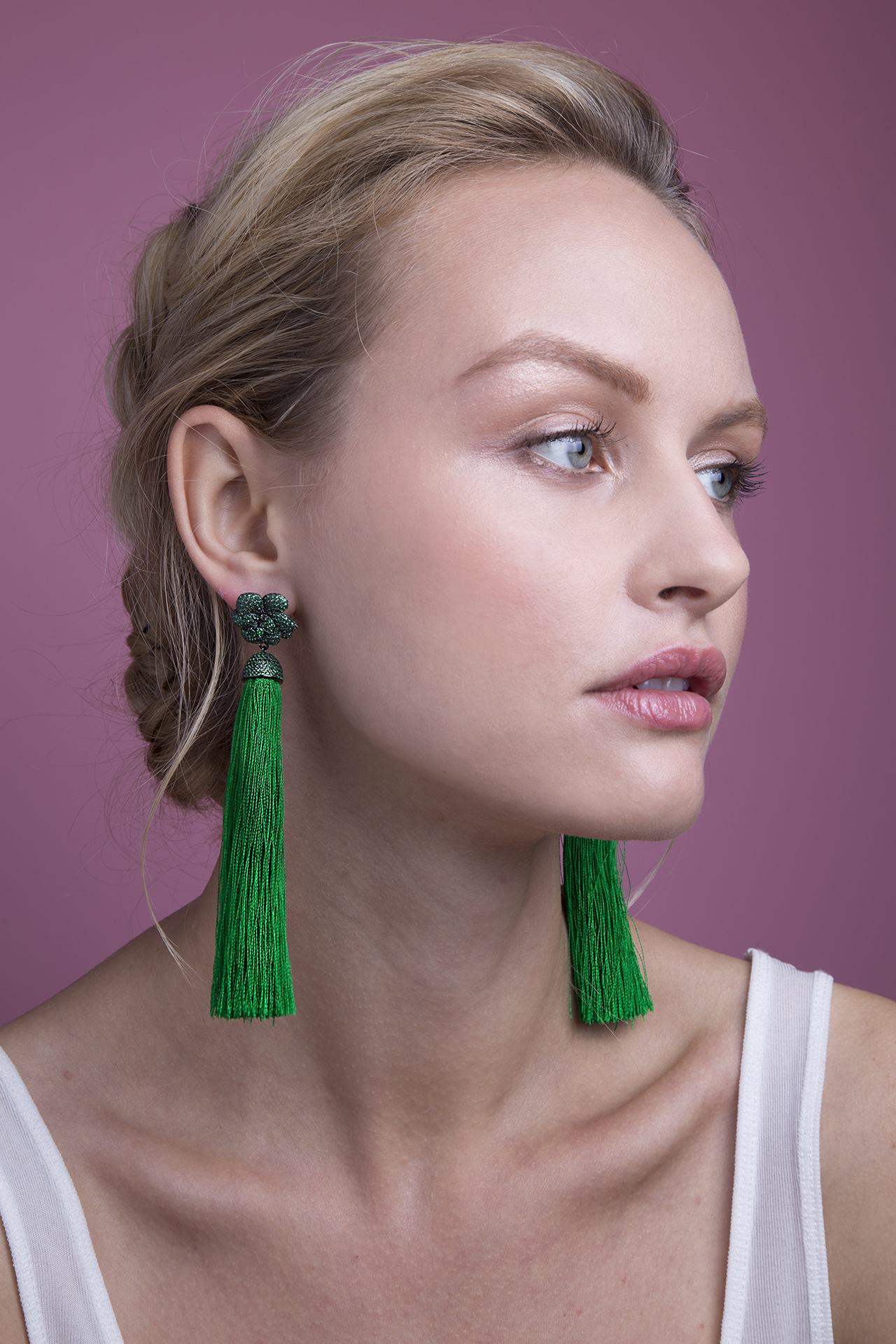 Lara Heems Rose Tassel Earrings