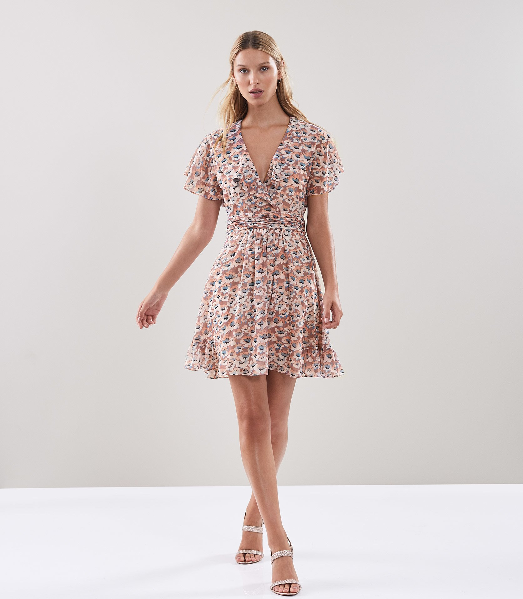 Aime Floral Printed Tea Dress Reiss