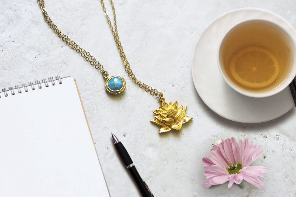Awakened Lotus Necklace with Turquoise gemstone Basics Seven Saints