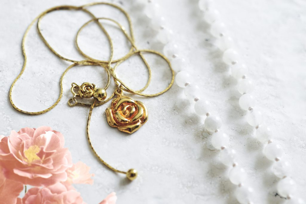 Seven Saints Mystic Rose Adjustable Slider Necklace 18k Gold Vermeil