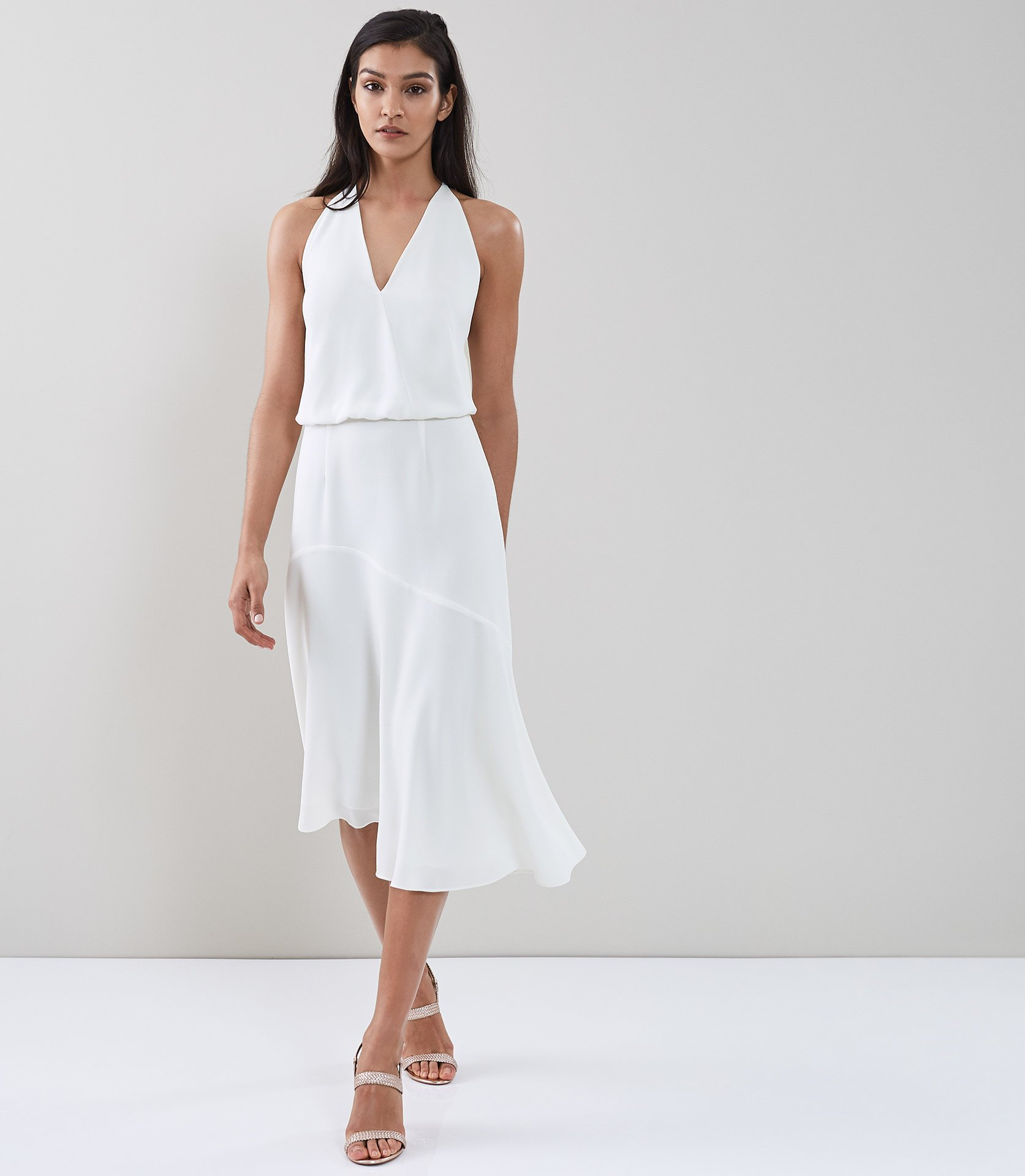 Talin Strappy Back Midi Dress Reiss