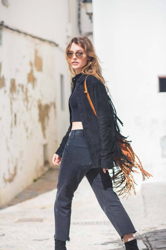 Collins Jacket Suede Fringed Leather Black Poppy Field the label