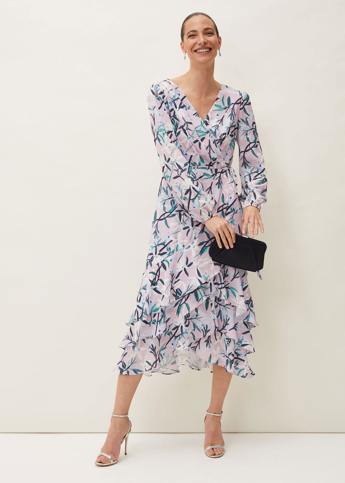 Jenna Floral Print Frill Dress Phase Eight Occasion Wear