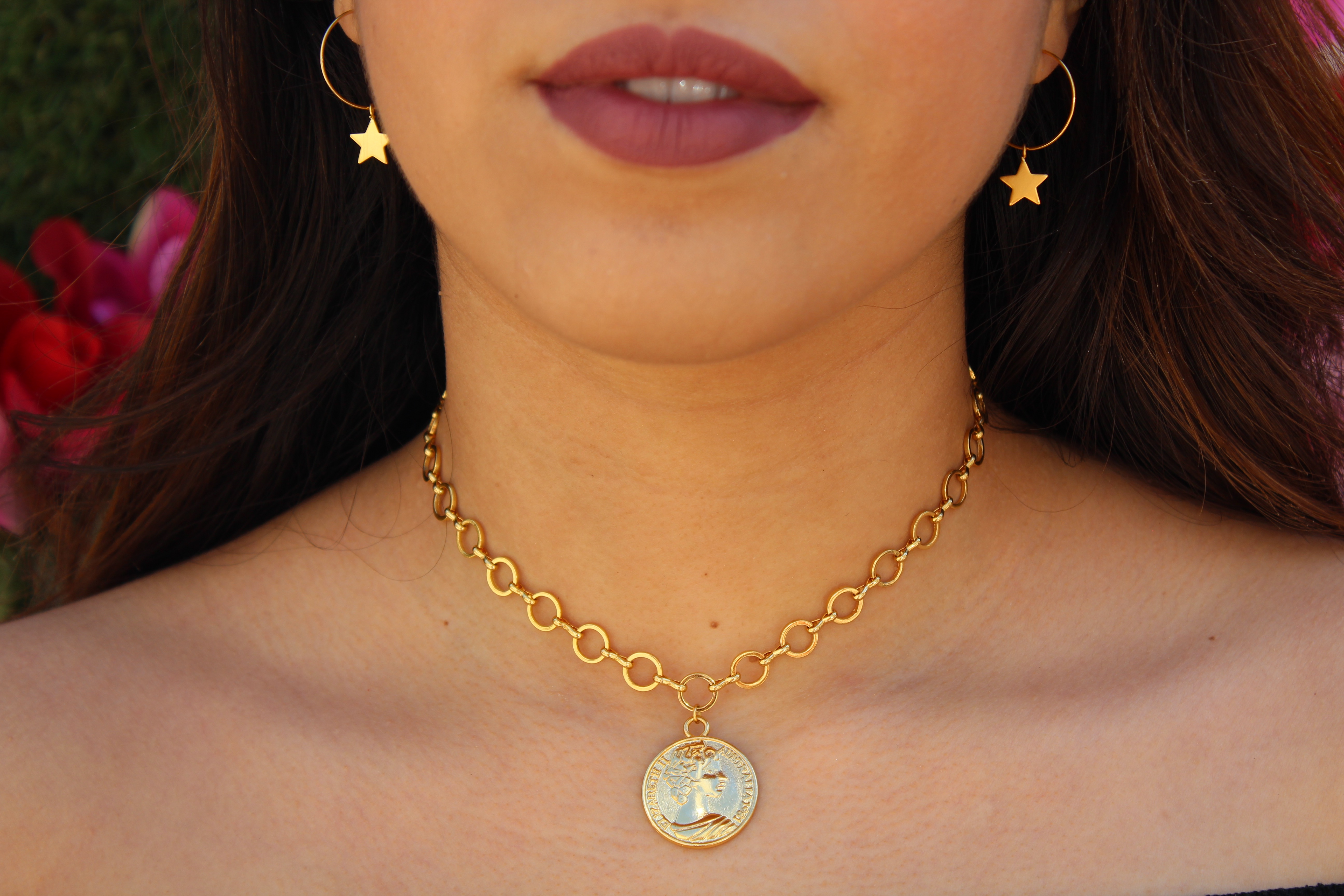 West Coast by Sara Gold Coin Choker Necklace