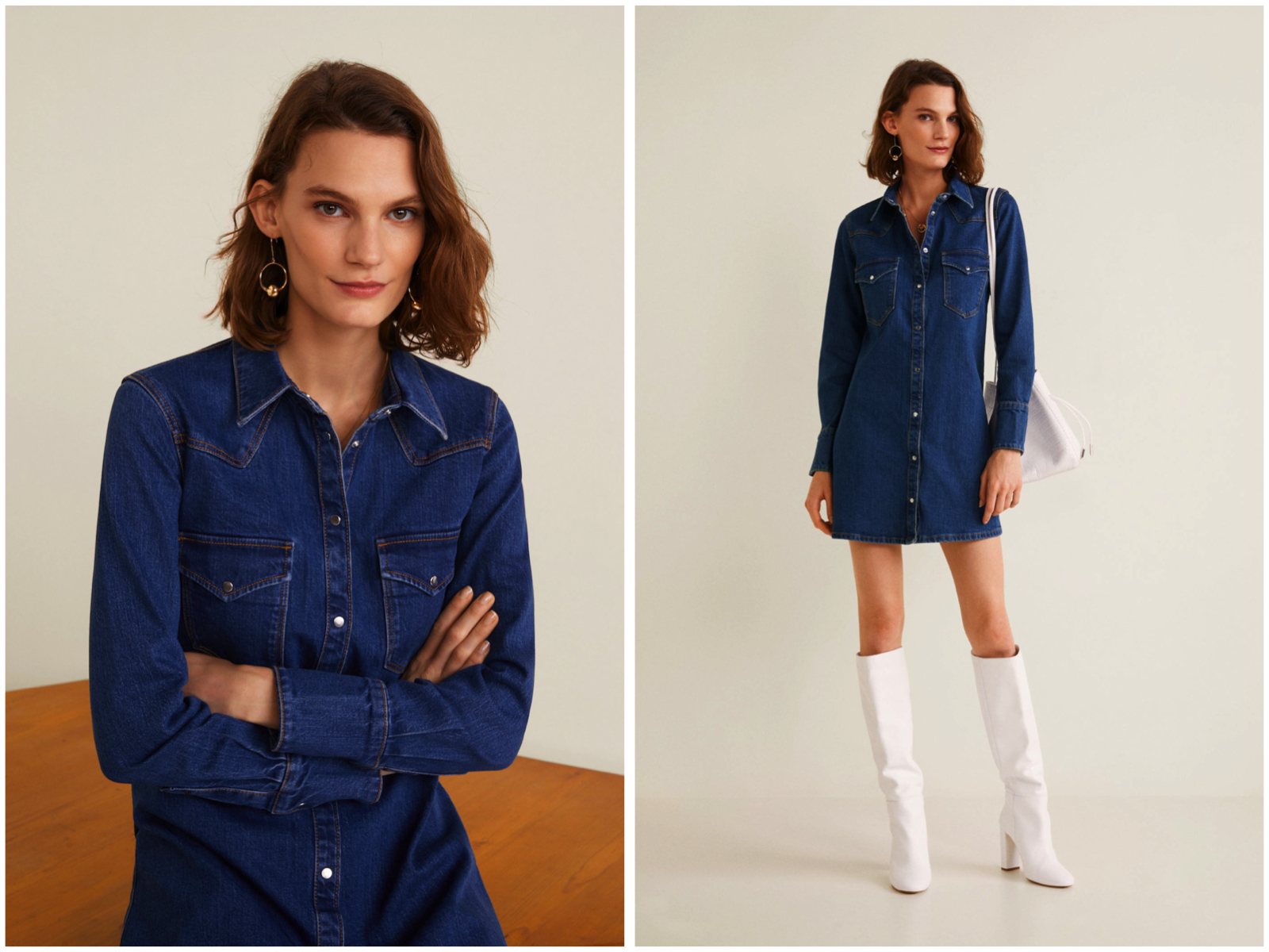 Denim Shirt Dress New In Mango
