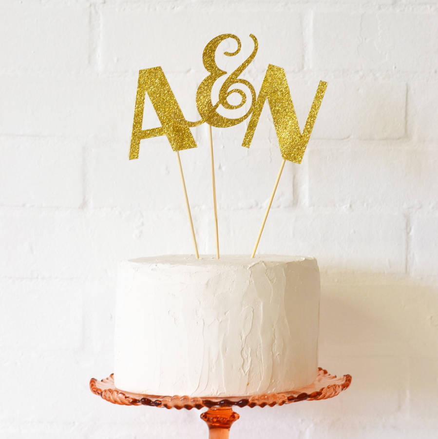 Glitter Initials Celebration Cake Topper