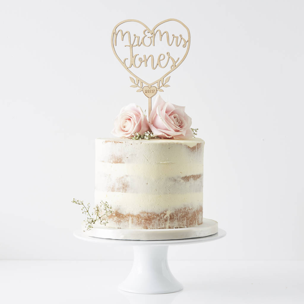 Personalised Couples Heart Cake Topper