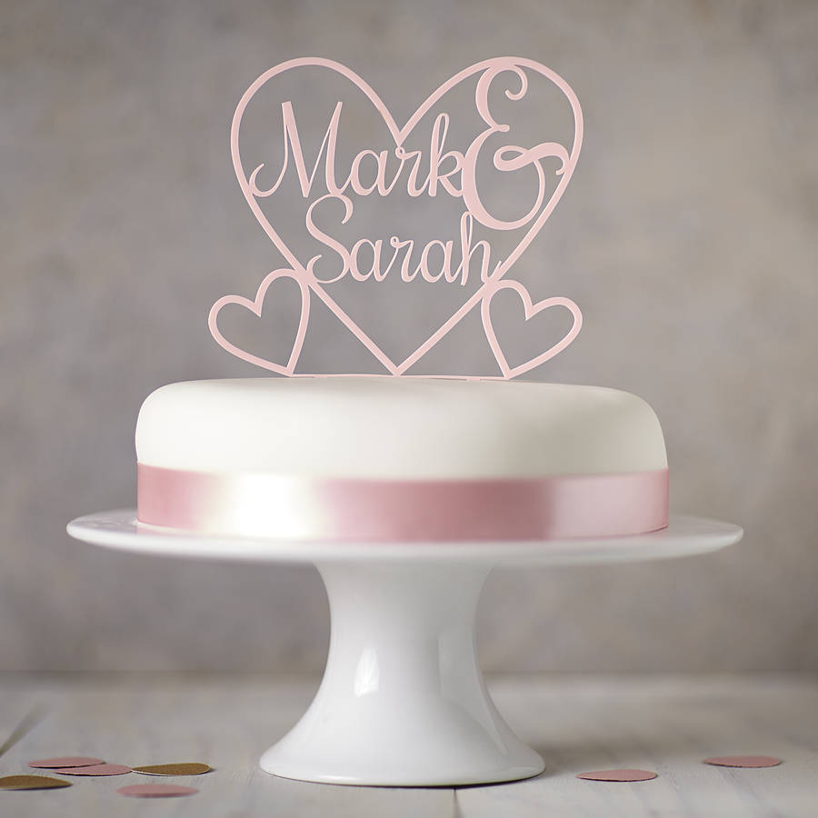 Personalised Heart Cake Topper Acrylic