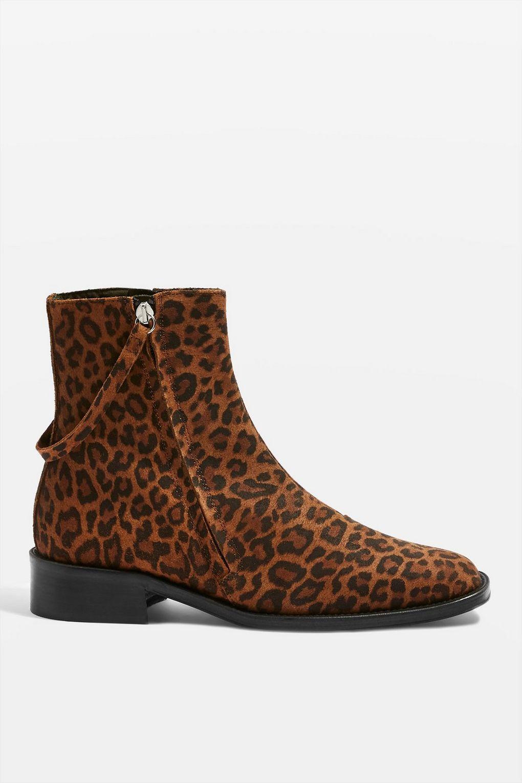 Topshop Aubrey Flat Leopard Print Boots