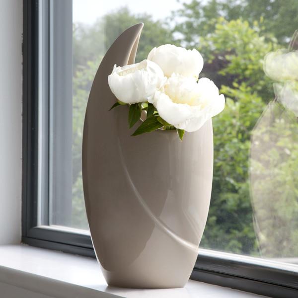 Crescent Vase Light Taupe Ceramic Glazed Kelly Hoppen