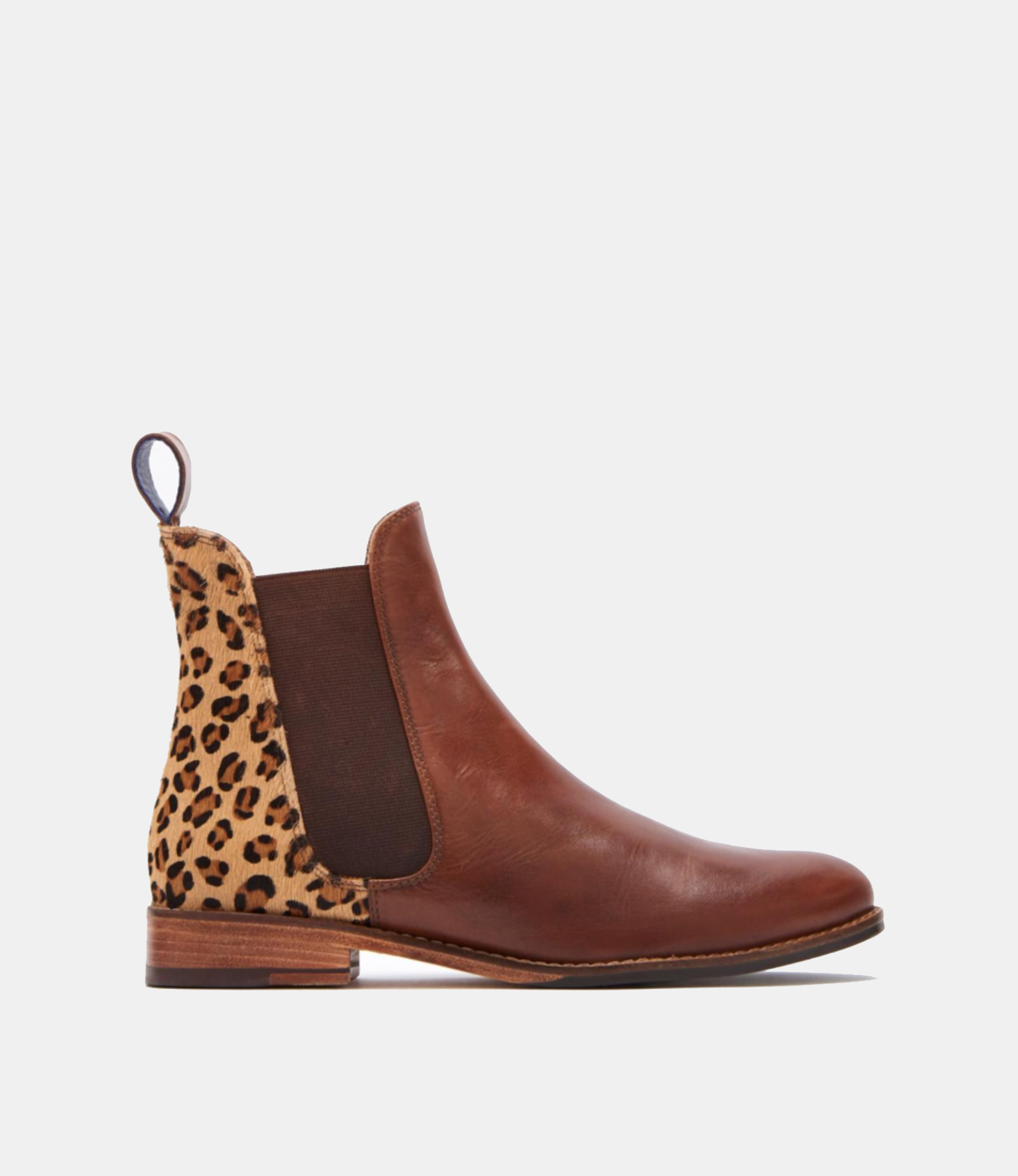 Joules Westbourne Chelsea Ankle Boots Tan Leather Leopard Print